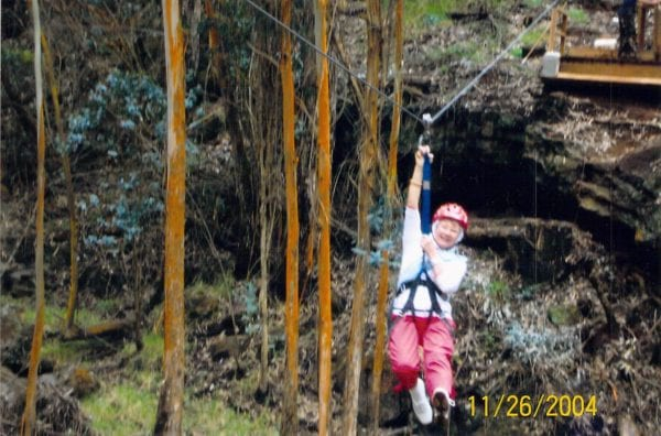 Najias mother ziplining in Hawaii at age 74, trying something new because of vacation travel