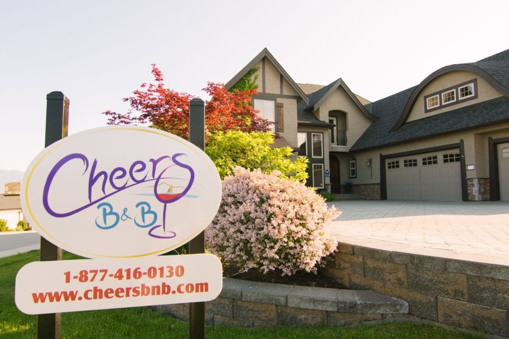 Business sign for Cheers B&B, a product of the reinvention of Colin and Najia