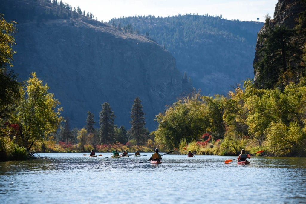A group of Kayakers paddling one of the Okanagan's rivers